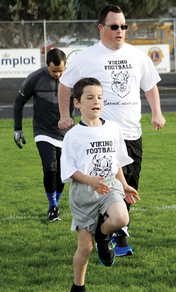 A host of Special Olympic athletes from the Gem State converged on Vale High School last Saturday to take part in a camp spearheaded by Viking senior Dillon Kaschmitter. Vale grad Gabe Moreno coordinates the Olympic program. (The Enterprise/John L. Braese)