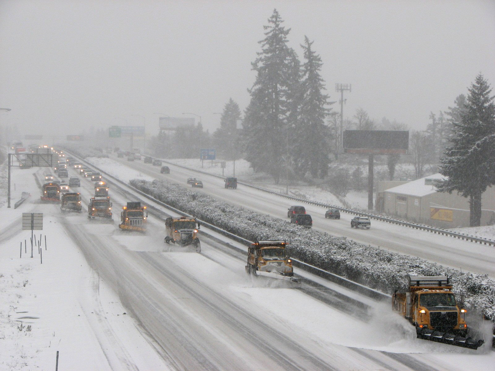Oregon Department of Transportation vehicles plow snow on Interstate 5 (Courtesy/ODOT)